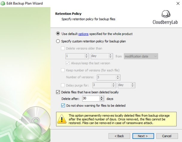 Do not show warning for files to be deleted? - MSP360